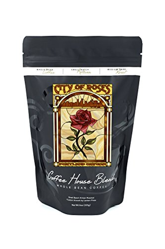 Portland, Oregon - Rose and Skyline Stained Glass (8oz Whole Bean Small Batch Artisan Coffee - Bold & Strong Medium Dark Roast w/ Artwork) (Stained Glass Portland)