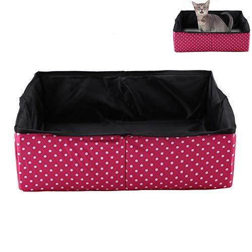 Minnya Cat Litter Box Collapsible Cat Litter Pan Cat Toilet Box Foldable Toilet Tray Carrier Waterproof Leakproof Pet…