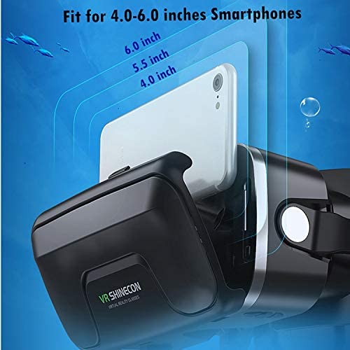 Immersive 3D VR Glasses Box Virtual Reality Headset Pro Version with Earphone Compatible for iPhone 11 Pro Samsung LG Moto HTC etc. 4.0-6.0inch Cellphone with Gift Wireless Remote Controller, Black 41ygH6A3dOL