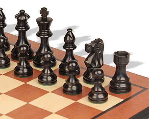 - French Lardy Staunton Chess Set Ebonized & Boxwood Pieces with Mahogany Molded Edge Chess Board - 2.75