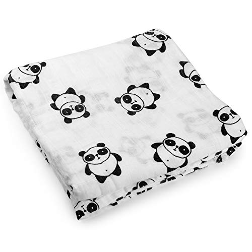Kyapoo Muslin Swaddle Blankets 100% Cotton, Panda, Large 47'' X 47'', 1 Pack