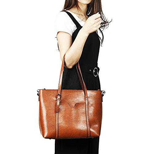 Women Bag Casual Vintage Shoulder Bag Handbags Cross Body Bag Large Capacity Bags Brown JUNDUN by JUNDUN (Image #6)