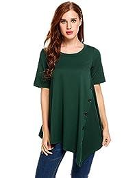 Meaneor Women Casual T-Shirt Asymmetrical Hem Pleated Tunic