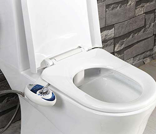 Luxe Bidet Neo 110 - Fresh Water Non-Electric Mechanical Bidet Toilet Seat Attachment (blue and white)