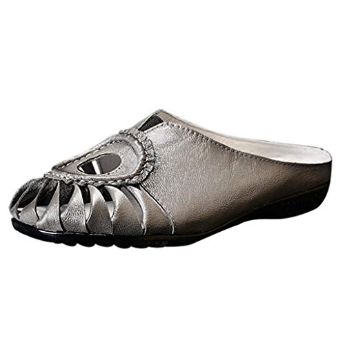 Sherostore ♡ Women's Hollow Leather Casual Flat Slipper Soft Closed Toe Slip-On Loafer Walking Slipper Gray