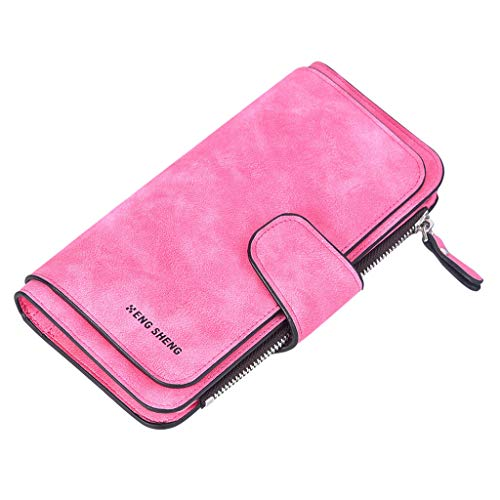 ❤️ Sunbona Card Holder Wallet Solid Color Matte Long Section Three Fold Multi keychain Business Coin Purse Pouches for Women