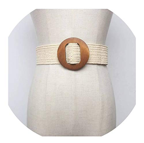 New Vintage Knitted Wax Rope Wooden Bead Waist Rope Women Smooth Buckle Belt Woman Woven Female Hand-Beaded Braided Belt,White