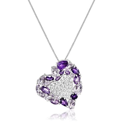 Sterling Silver Amethyst, Pink Amethyst and Created White Sapphire Heart Pendant Necklace, 18""