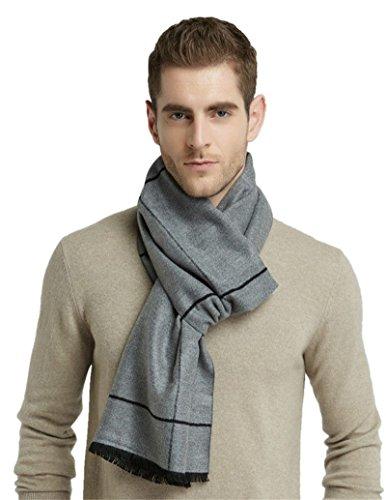 Grey Square Design Brushed Warm Soft Cashmere Feel Men's Scarf Winter