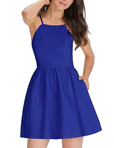 FANCYINN Women's Casual Short Dress Spaghetti Strap Backless Mini Skate Dress Blue XS
