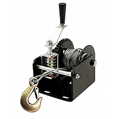 1 Ton 2000 Lb Capacity Worm Gear Hand Winch 40:1 Ratio Boats Trailers Pick Up