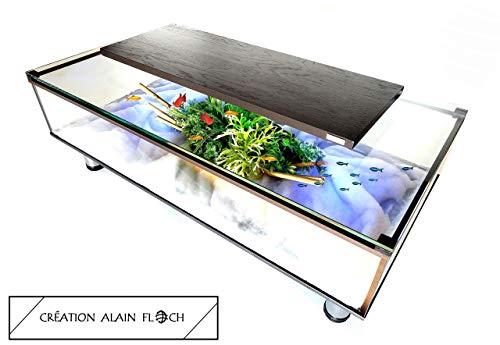 Table Basse Design Evasion 100 Chene Massif Noir Led 16