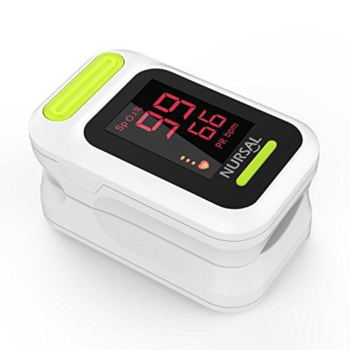 NURSAL Fingertip Pulse Oximeter Blood Oxygen Saturation Monitor with Carrying Case & Lanyard, White by NURSAL