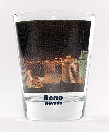 Reno Nevada Night City Skyline Color Photo Shot Glass