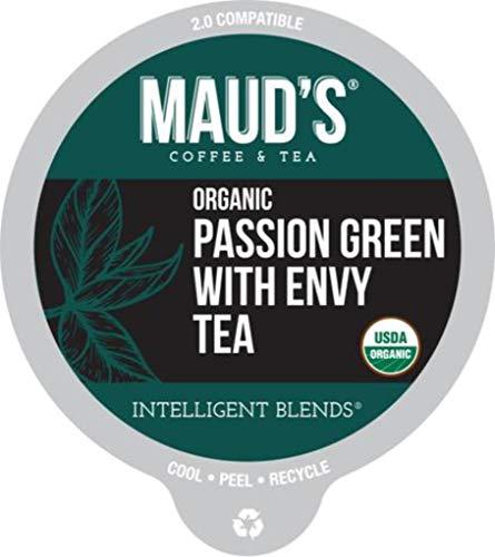 Maud's Organic Green Tea Passion (Green Tea Medium Brew), 24ct. Recyclable Single Serve Organic Tea Pods ()