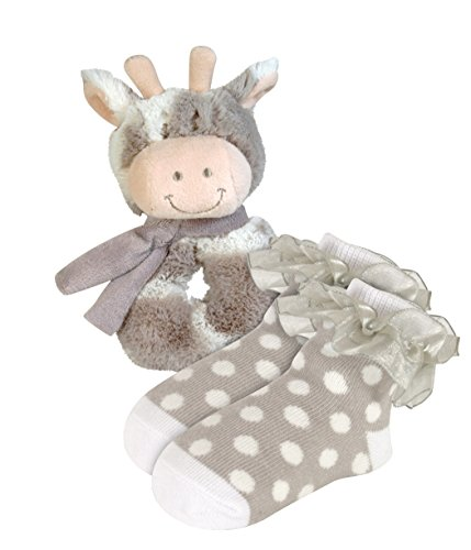 Stephan Baby Plush Ring Rattle and Lace-Trimmed Polka Dot Socks Gift Set, Giraffe, 6-12 Months (Dot Polka Rattle)