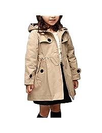 Baby Girls Plaid Jackets Coats Princess Trench Coats Hoodie