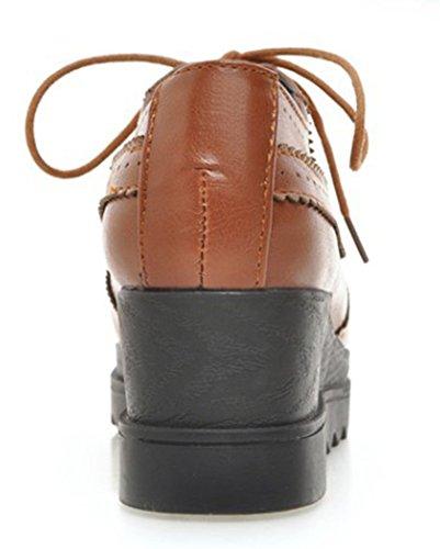 Aisun Women's Comfy Square Toe Wedge Heels Oxford Shoes Yellow p2awrJ