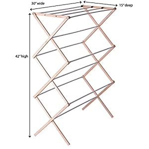 Household Essentials 5001 Collapsible Folding Wooden Clothes Drying Rack for Laundry | Pre assembled