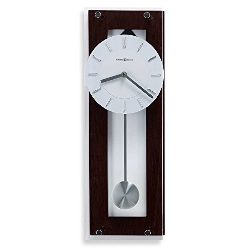 Howard Miller Studio 24 Collection Emmett Wall Clock, Black Espresso Finished Back Panel with Brushed Nickel Finished Accents