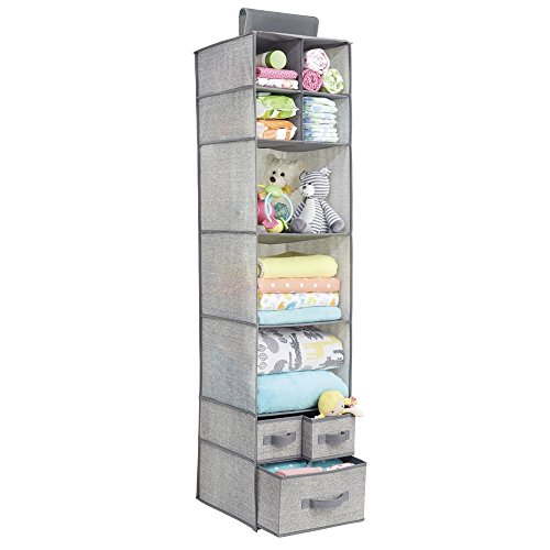 InterDesign Aldo Fabric Hanging Closet Storage Organizer, for Clothing, Sweaters, Shoes, Accessories - 7 Shelves and 3 Drawers, Gray