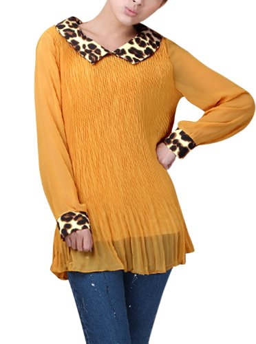 Woman Leopard Print Collar Long Sleeve Pleated Blouse Dark Yellow/S (US (Womens Pleated Print Blouse)