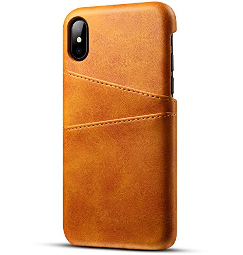 MIncYB - Slim Minimalist iPhone 7 and iPhone 8 Case for Men and Women,PU Leather 2 Card Slot(Khaki) ()