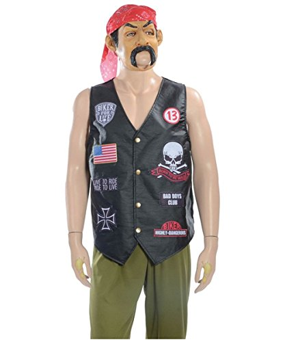 Biker Men Costume Black Vest Red Bandana and Mask One size