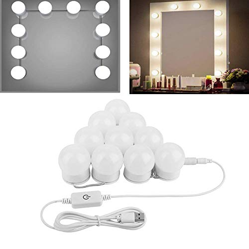 (Hollywood Style LED Vanity Makeup Mirror Lights Kit- ChungGorGor Modern Makeup Light with USB Power Supply Plug, 10 Dimmable Bulbs,Touch Dimmer,No Shadow,15)