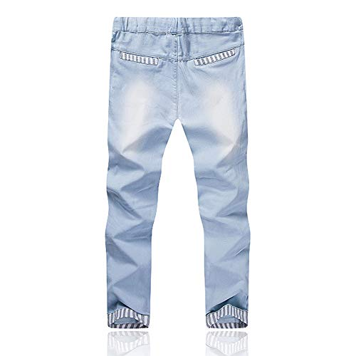 X-i^i Mens Fashion Casual Vintage Elastic Wash Disstressed Denim Slim Pants Pleated Ripped Freyed Slim Fit Jeans Trousers
