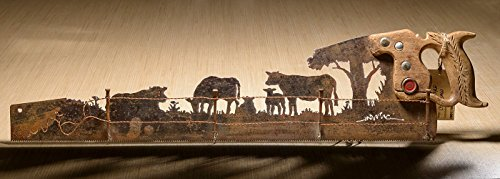 Metal Art Rustic custom cut handsaw Cattle Cow and Fence design | Wall Decor | Recycled Art | Re-purposed Made to Order for ranchers | Plasma cut metal ()