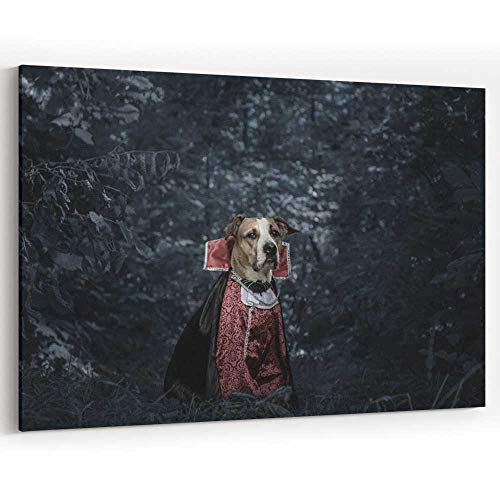 Actorstion Funny Dog Dressed up for Halloween as Dracula Vampire Dark molit Forest Canvas Pr ts Wall Art for D]()