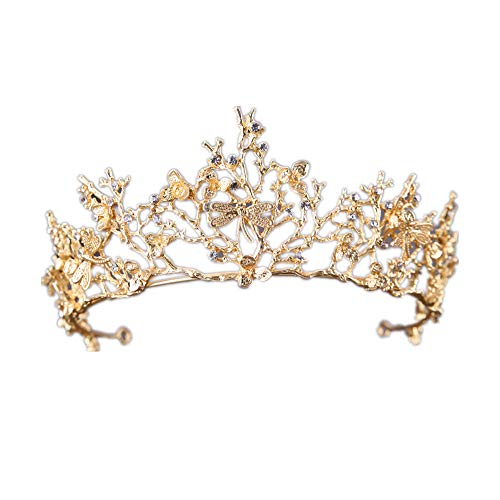 - Vintage Gold Branch Dragonfly Headdress Hair Accessories Tiara Crown Wedding Dress Jewelry