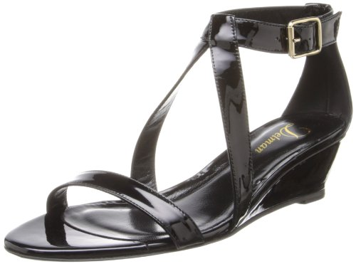 Delman Women's Caryn Wedge Sandal Black Patent