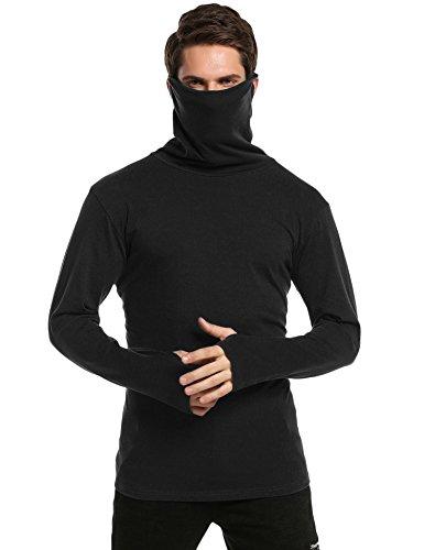 (Coofandy Mens Slim Fit Underwear Thermal Turtleneck Pullover Thermal Sweaters,Black,XX-Large)