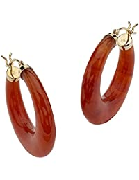 14K Yellow Gold Hoop Earrings (30mm) Genuine Red Jade