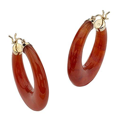14K Yellow Gold Hoop Earrings (30mm) Genuine Red Jade