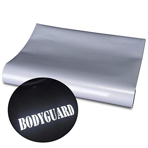 Reflective HTV Heat Transfer Vinyl Silver Color Great for Running Gear, Reflect Logos, Letters Such as Police etc. - 12 by 20 inch 2 Sheets/Bundle,Reflective Silver