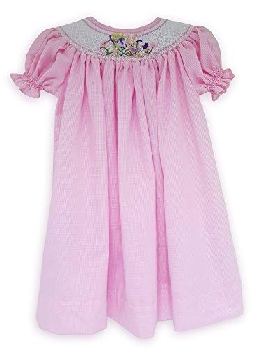 Hand Smocked Bishop Dress (Carouselwear Easter Hand Smocked Summer Girls Bishop Dress Pink Gingham)