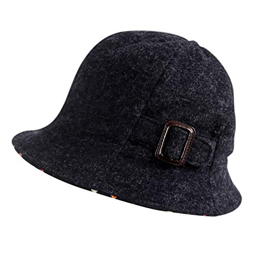 677888 Winter Hat for Women Basin Hat Fisherman Hat Female Autumn and Winter Korean Version of The British Fashion Elegant Hat Wool Adjustable by 677888 (Image #1)