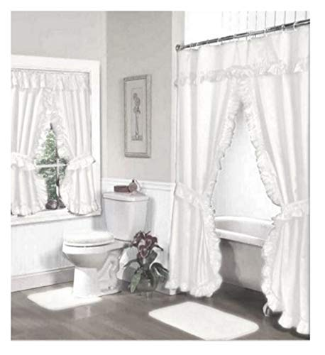 - Home Fashions White Double Swag Shower and Window Curtain Set with Liner