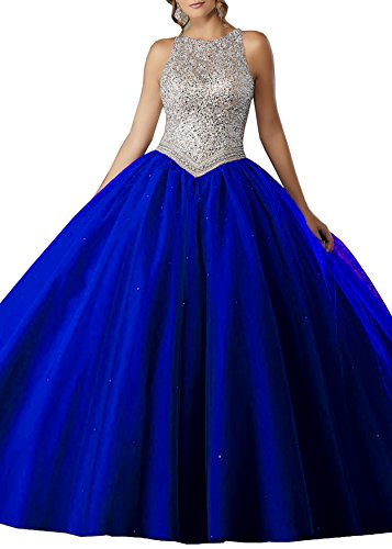 Blue Beaded Girls' Ball S071 Beauty Prom Quinceanera Royal Gown Line A Party Bridal Dresses EOnqx1Rw