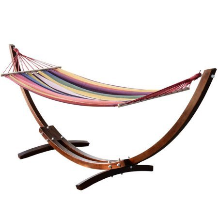 outsunny wooden pine arc colorful patio hammock swing and wood stand outsunny wooden pine arc colorful patio hammock swing and wood      rh   hammock fort