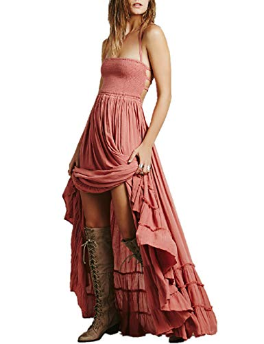 (SEBOWEL Women's Sexy Blackless Halter Boho Ruffle Swing Flowy Maxi Party Dress Pink-L)