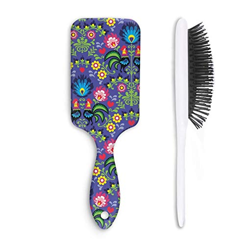 Unisex Detangle Hair Brush Colorful Safari Rooster Party Boar Bristle Paddle Hairbrush for Wet, Dry, Thick, Thin,Curly hair ()