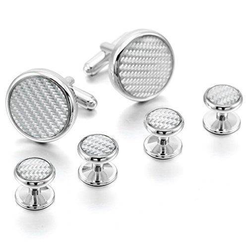 INBLUE Rhodium Plated Carbon Cufflinks