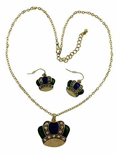 Mardi Gras Purple, Gold and Green Crown Necklace and Earring Set w 18-inch Gold plated cable chain. (New Orleans Costume)