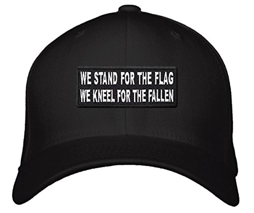 We Stand For The Flag We Kneel For The Fallen Hat - Adjustable Black Cap - National Anthem Patriot Political