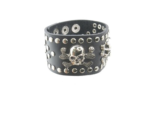 Skull Head Crossbone with Stud Black Leather Heavily Metal Style Wristband Bracelet Cuff Style G