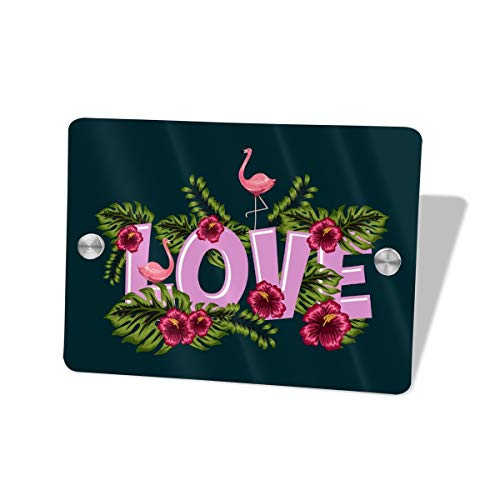 Hucuery Commission Greeting Card ¡°Love¡± in Flower Characters 5.57.5 in Square Doorplate£¬Square House Decoration, Custom Personality Slogan, Office Meeting Sign